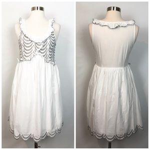 RYU White Gray Scalloped Eyelet Lace Ruffle Dress